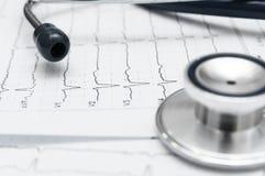 Στηθοσκόπιο στο καρδιογράφημα Στοκ Εικόνες