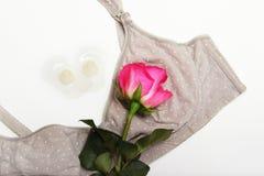 Στηθόδεσμος περιποίησης για τις μητέρες και τις θηλές πυριτίου Τα μαξιλάρια σιλικόνης στις θηλές βοηθούν να ταΐσουν με τις επίπεδ στοκ φωτογραφία με δικαίωμα ελεύθερης χρήσης