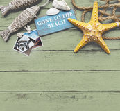 Στην έννοια μνημών διακοπών καλοκαιρινών διακοπών παραλιών Στοκ Εικόνες