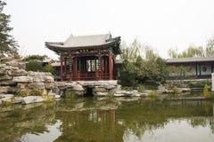 Στην Ασία, Κίνα, Πεκίνο, πάρκο EXPO κήπων, το παλαιό κτήριο, προαύλιο Στοκ Εικόνες