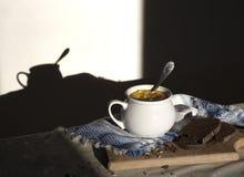 Στην επιτραπέζια μπλε πετσέτα με το σχέδιο διακοσμήσεων και τη σουπιέρα σούπας με την κίτρινη σούπα στο ήλιων σκοτεινό υπόβαθρο σ Στοκ Εικόνα