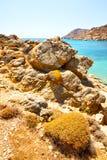 στην Ελλάδα η θάλασσα και ο ουρανός νησιών mykonos Στοκ Φωτογραφίες