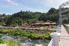 Στην τράπεζα caldera το ρυάκι στο boquete είναι η έδρα του λουλουδιού και του καφέ δίκαιος Παναμάς στοκ φωτογραφίες με δικαίωμα ελεύθερης χρήσης