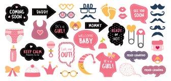 Στηρίγματα θαλάμων φωτογραφιών ντους μωρών photobooth καθορισμένα στοκ εικόνες