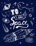 Στη διαστημική γράφοντας αφίσα κινούμενων σχεδίων αποσπάσματος διανυσματική με το κοσμικό υπόβαθρο γαλαξιών στοιχείων επιστήμης,  Στοκ Εικόνες