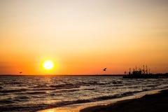 Στη δύσκολη παραλία ηλιοβασιλέματος το βράδυ λευκό άμμου Δομινικανής Δημοκρατίας παραλιών Όμορφη φύση του νησιού Στοκ εικόνες με δικαίωμα ελεύθερης χρήσης