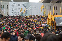 Στη διαμαρτυρία του Προέδρου Park Geun-hye Στοκ εικόνες με δικαίωμα ελεύθερης χρήσης