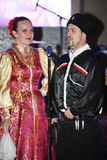 Στη σκηνή είναι χορευτές και τραγουδιστές, δράστες, μέλη χορωδιών, χορευτές του σώματος de ballet και soloists του συνόλου Cossac Στοκ Εικόνες
