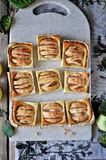 Στη στάση είναι ένα κέικ στάρπης με τα μήλα, στις φέτες μήλα φρέσκα Στοκ Εικόνα