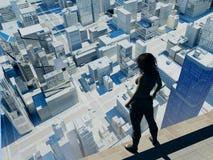 Στη στέγη ενός ουρανοξύστη Στοκ Εικόνες