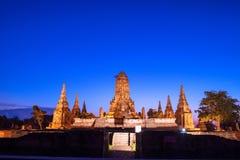 Στιγμή λυκόφατος Chaiwatthanaram Wat Στοκ φωτογραφίες με δικαίωμα ελεύθερης χρήσης