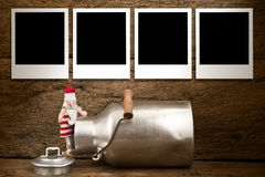 Στιγμιαία κάρτα Santa Χριστουγέννων πλαισίων φωτογραφιών Στοκ εικόνα με δικαίωμα ελεύθερης χρήσης