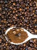 Στιγμιαίος καφές στο κουτάλι στα φασόλια καφέ στοκ φωτογραφία με δικαίωμα ελεύθερης χρήσης