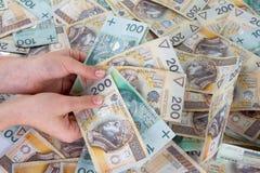 στιλβωτική ουσία εκμετάλλευσης χεριών zlotys Στοκ φωτογραφία με δικαίωμα ελεύθερης χρήσης