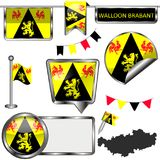 Στιλπνά εικονίδια με τη σημαία της βαλλωνικής Βραβάνδη, Βέλγιο Στοκ Φωτογραφίες