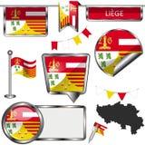 Στιλπνά εικονίδια με τη σημαία της Λιέγης, Βέλγιο Στοκ φωτογραφία με δικαίωμα ελεύθερης χρήσης