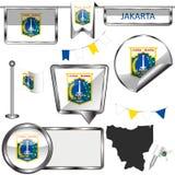 Στιλπνά εικονίδια με τη σημαία της Τζακάρτα, Ινδονησία Στοκ Φωτογραφίες