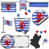 Στιλπνά εικονίδια με τη σημαία του Λουξεμβούργου, Βέλγιο Στοκ εικόνες με δικαίωμα ελεύθερης χρήσης