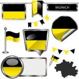 Στιλπνά εικονίδια με τη σημαία του Μόναχου, Γερμανία Στοκ Εικόνες