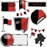 Στιλπνά εικονίδια με τη σημαία του Ναμούρ, Βέλγιο Στοκ εικόνα με δικαίωμα ελεύθερης χρήσης