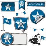 Στιλπνά εικονίδια με τη σημαία του Χιούστον, TX Στοκ εικόνα με δικαίωμα ελεύθερης χρήσης