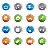 στιλπνά μέσα εικονιδίων κουμπιών Στοκ εικόνα με δικαίωμα ελεύθερης χρήσης