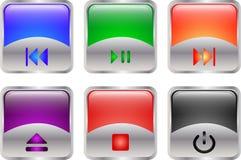 στιλπνά πολυμέσα κουμπιών Στοκ φωτογραφία με δικαίωμα ελεύθερης χρήσης
