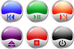 στιλπνά πολυμέσα κουμπιών Στοκ εικόνες με δικαίωμα ελεύθερης χρήσης