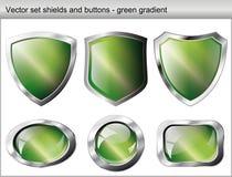 στιλπνή πράσινη ασπίδα κου&m διανυσματική απεικόνιση