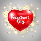 στιλπνό κόκκινο καρδιών Η κάρτα ημέρας βαλεντίνων με την κόκκινη καρδιά, ακτινοβολεί λάμποντας εγγραφή κομφετί και χεριών ρομαντι ελεύθερη απεικόνιση δικαιώματος