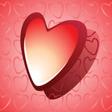 στιλπνό κόκκινο καρδιών Στοκ Εικόνες