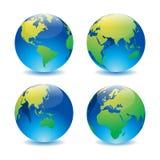 Στιλπνό σύνολο παγκόσμιων χαρτών σφαιρών διανυσματική απεικόνιση