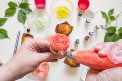 Στις άσπρες φόρμες κέικ υποβάθρου, spatula, corolla, κώνοι για το crea στοκ φωτογραφίες με δικαίωμα ελεύθερης χρήσης