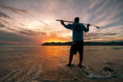 στις αρχές πρωινού ψαράδων Στοκ Εικόνες