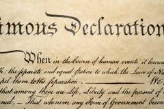 Στις 4 Ιουλίου 1776 στενός επάνω δήλωσης ανεξαρτησίας Στοκ Εικόνες