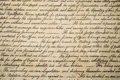 Στις 4 Ιουλίου 1776 στενός επάνω δήλωσης ανεξαρτησίας Στοκ Φωτογραφίες