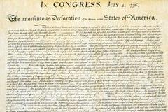 Στις 4 Ιουλίου 1776 στενός επάνω δήλωσης ανεξαρτησίας Στοκ Εικόνα