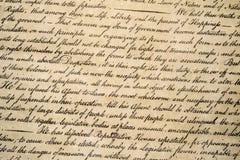 Στις 4 Ιουλίου 1776 στενός επάνω δήλωσης ανεξαρτησίας Στοκ φωτογραφίες με δικαίωμα ελεύθερης χρήσης