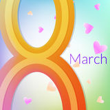 Στις 8 Μαρτίου ευχετήριων καρτών - ημέρα της γυναίκας Στοκ Εικόνες