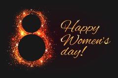 Στις 8 Μαρτίου ευχετήριων καρτών - η ημέρα της γυναίκας με την πολυτέλεια χρυσή ακτινοβολεί απεικόνιση αποθεμάτων
