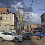 Στις οδούς Sloviansk τέλη Μαρτίου του 2019 στοκ εικόνα