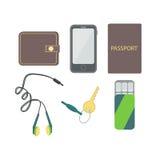 Στις τσέπες του πορτοφολιού ατόμων, το διαβατήριο, τηλέφωνο κυττάρων, ακουστικά, γόμμα, κλειδώνει απεικόνιση αποθεμάτων