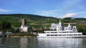 στις όχθεις του ποταμού του Ρήνου και του ιστορικού κάστρου, σκάφη ποταμών Στοκ Εικόνες
