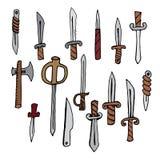Στιλέτα, μαχαίρια, τσεκούρι, διανυσματικές απεικονίσεις καθορισμένες Στοκ φωτογραφία με δικαίωμα ελεύθερης χρήσης