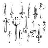 Στιλέτα, μαχαίρια, τσεκούρι, διανυσματικές απεικονίσεις καθορισμένες Στοκ φωτογραφίες με δικαίωμα ελεύθερης χρήσης