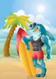 Στιλβωμένος καρχαρίας surfer με το υπόβαθρο Στοκ εικόνες με δικαίωμα ελεύθερης χρήσης