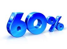 Στιλπνά μπλε 60 εξήντα τοις εκατό μακριά, πώληση Απομονωμένος στο άσπρο υπόβαθρο, τρισδιάστατο αντικείμενο Στοκ Φωτογραφία