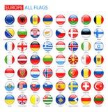 Στιλπνές στρογγυλές σημαίες της Ευρώπης - πλήρης διανυσματική συλλογή Στοκ Εικόνα