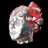 Στιλπνή επικεφαλής ανατίναξη γυναικών που κλείνει με παντζούρια - πονοκέφαλος, διανοητικά προβλήματα, πίεση Στοκ εικόνα με δικαίωμα ελεύθερης χρήσης
