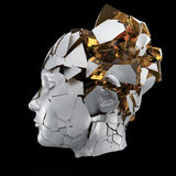 Στιλπνή επικεφαλής ανατίναξη γυναικών που κλείνει με παντζούρια - πονοκέφαλος, διανοητικά προβλήματα, πίεση Στοκ εικόνες με δικαίωμα ελεύθερης χρήσης